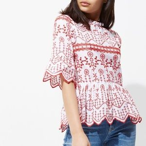 River Island Floral Embroidered Smock Top Sz M /8